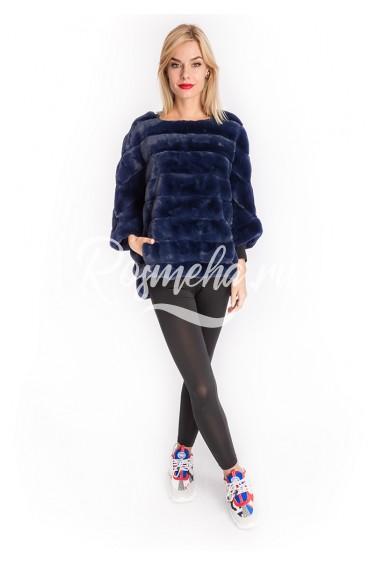 Синий свитер из экомеха (96-50206)