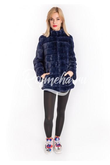 Синяя куртка из экомеха (93-70206)