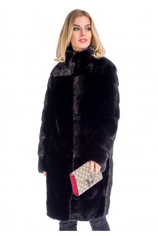 Импортный мех норки черная шуба стойка (304-10013)