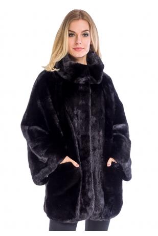 Женская черная шуба свободного кроя из норки (308-8013)