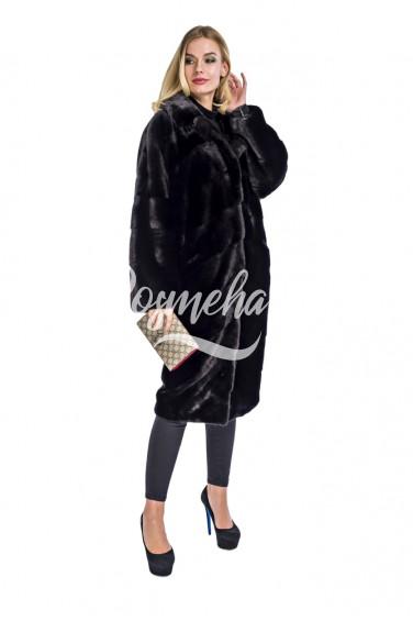 Кимоно черный норка мех далянка (339-10013)