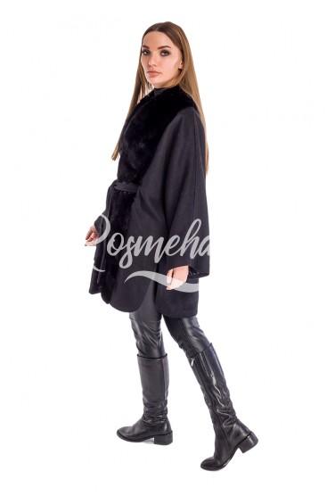 Пальто черное с мехом норки под пояс (21-8030)