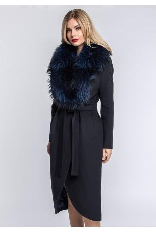 Молодежное шерстяное пальто воротник енот (125-10010)