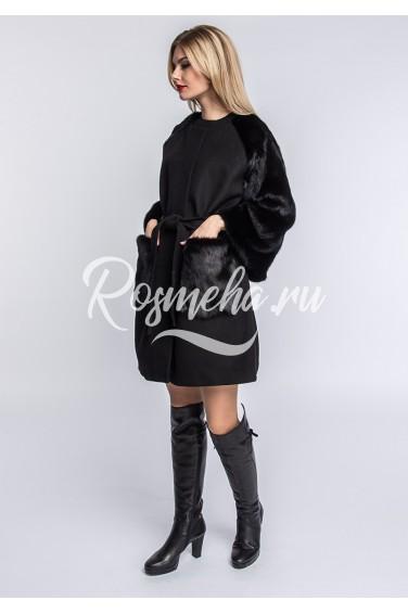 Черное пальто с норкой (134-8010)