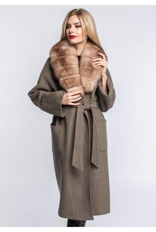 Пальто шерстяное воротник песец (135-1010)