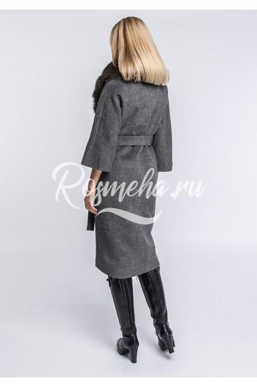 Серое пальто воротник песец (136-1010)
