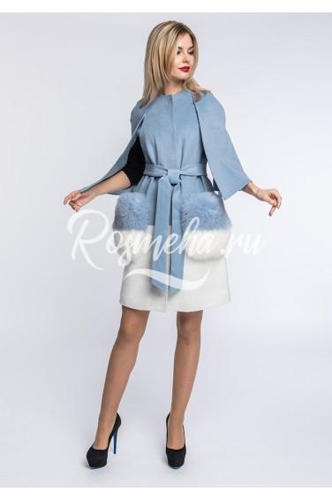 Голубое шерстяное пальто карманы песец (149-8010)