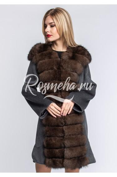 Шерстяное темно-серое пальто с песцом (153-8010)
