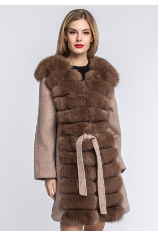 Шерстяное пальто пудра с песцом (155-8010)