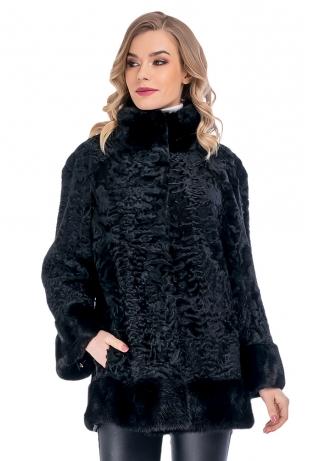 Черная куртка из каракуля с мехом норки (44-7508)