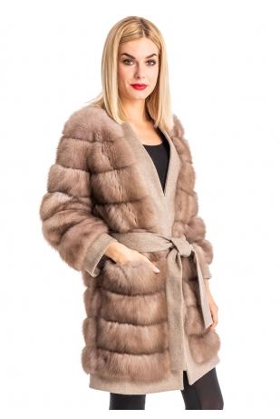 Пальто из куницы на кашемировой основе (004-9023)