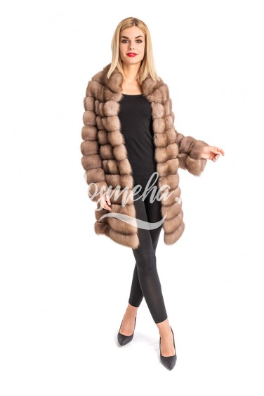 Пальто из куницы на кашемировой основе (005-9023)