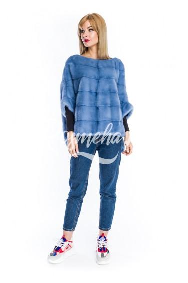 Молодежный свитер из норки джинса (19-6004)
