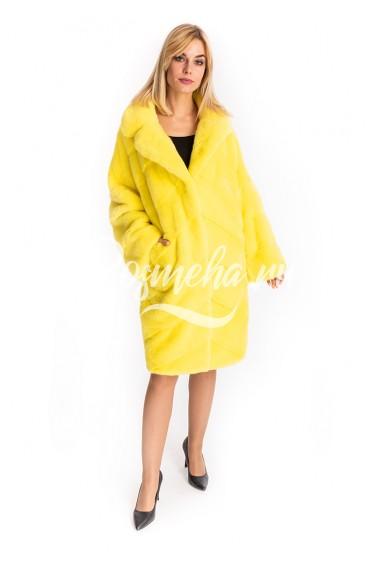 Лимонная норковая шуба импортный мех (171-10013)