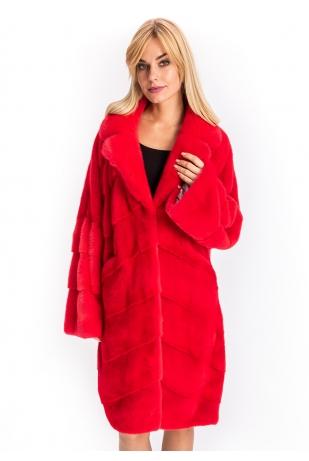 Красная норковая шуба NAFA аукционный мех (172-10013)