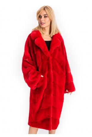 Стильная красная шуба кимоно из аукционной норки (177-11013)