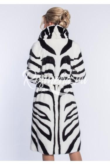 Черно-белая норковая шуба (53-11020)