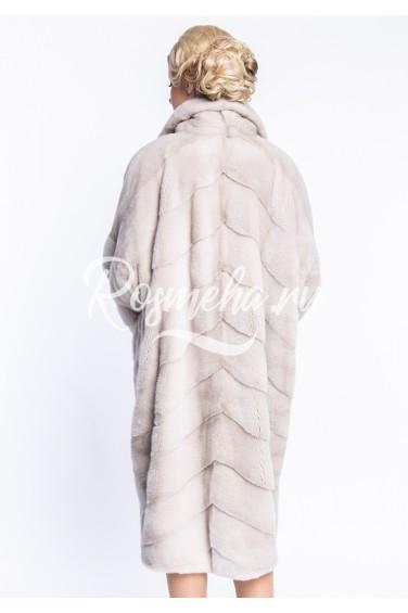 Норковая шуба скандинавка паркет (57-11020)