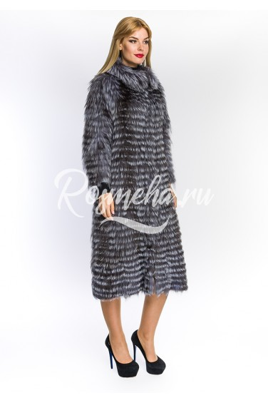 Пальто удлиненное из чернобурки (46-110592)
