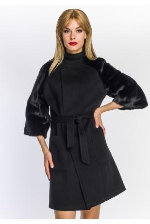 Черное пальто с норкой (41-85592)