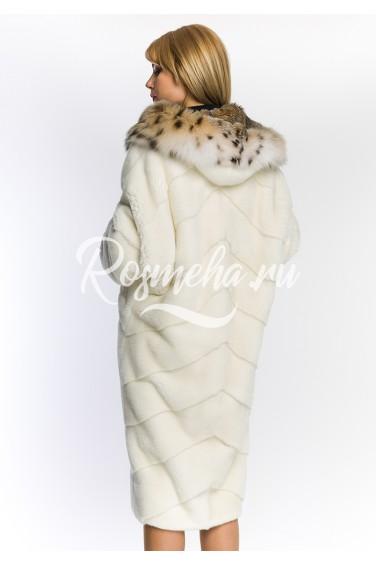 Светлая женская шуба с рысью норка NAFA  (160-11013)