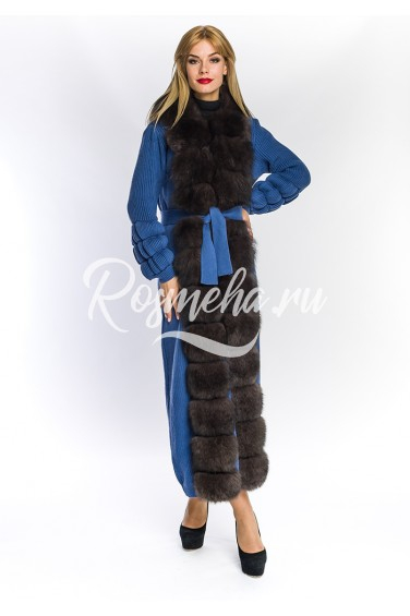 Женский голубой кардиган с мехом песца (03-130592)