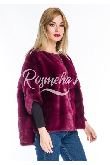 Меховой свитер из норки винного тона (14-6004)