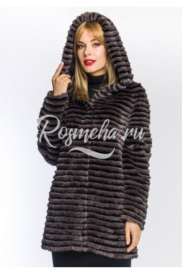 Пальто из норки с капюшоном (02-7512)