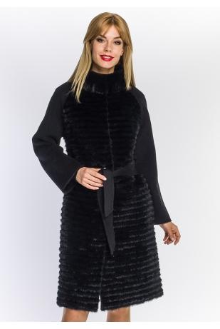 Черное пальто с мехом норки (06-10012)