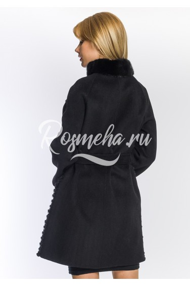 Пальто черное с мехом норки (08-9012)