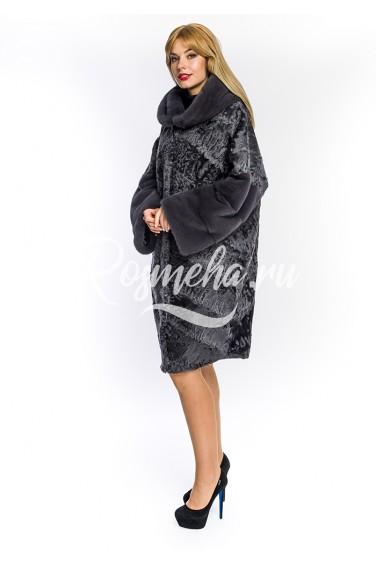 Женская шуба из каракуля с капюшоном (140-10013)