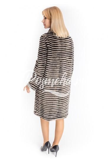 Двустороннее пальто из норки нарезки (45-10043)