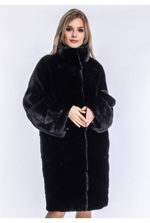 Черная норковая шуба кимоно (70-10013)