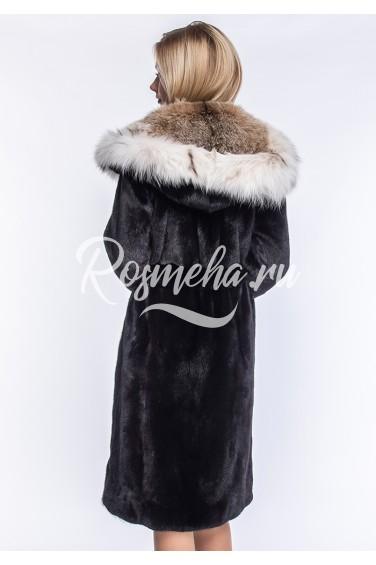 Шуба из импортного меха норки с капюшоном из рыси (56-110152)