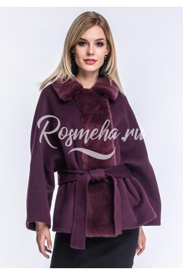 Короткое демисезонное пальто бордо (167-7010)