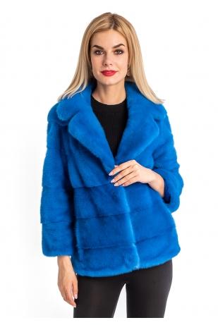 Норковая куртка небесного цвета мех NAFA (198-6013)