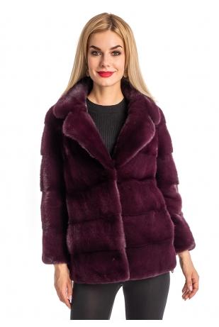 Винная норковая куртка аукционный мех (199-6013)
