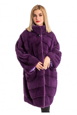 Фиолет норка шуба импортный мех (202-10013)