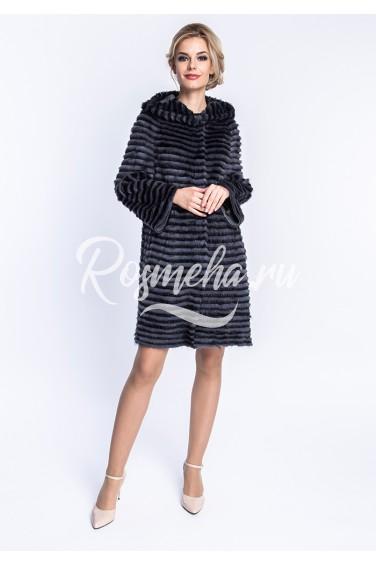 Пальто из норки на кашемире с капюшоном (07-90126)