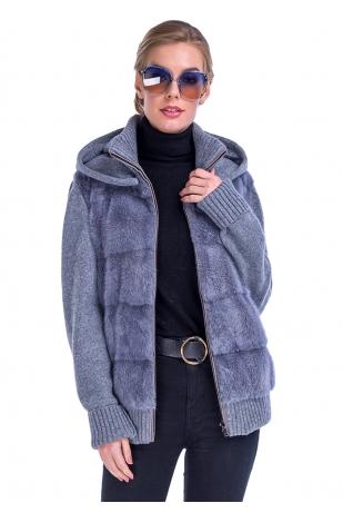 Серый свитер из меха норки вязаный рукав (34-6504)