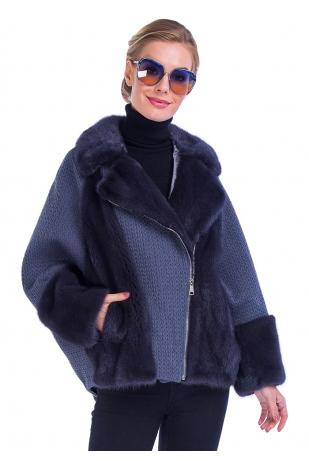 Меховая куртка графит с мехом норки (40-7004)