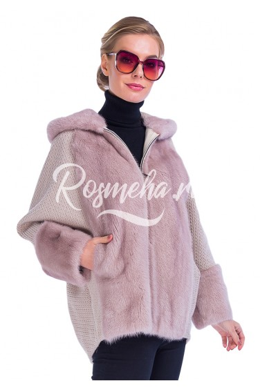Пудра куртка с капюшоном из меха норки (41-7004)