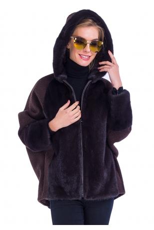 Коричневая куртка из меха норки с капюшоном (45-7004)