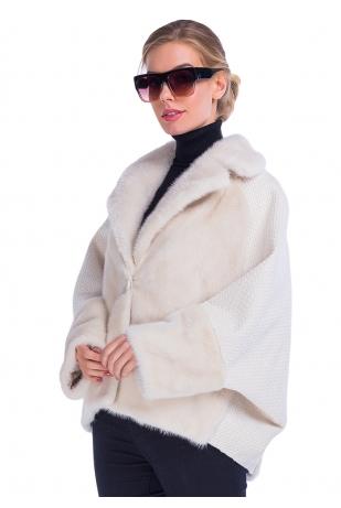 Светлая меховая куртка с мехом норки (47-7004)