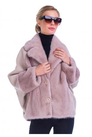Розовая пудра меховая куртка с норкой (48-7004)