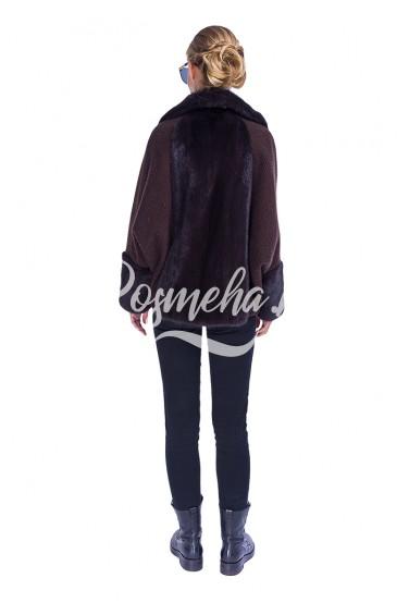 Меховая куртка коричневая с мехом норки (50-7004)