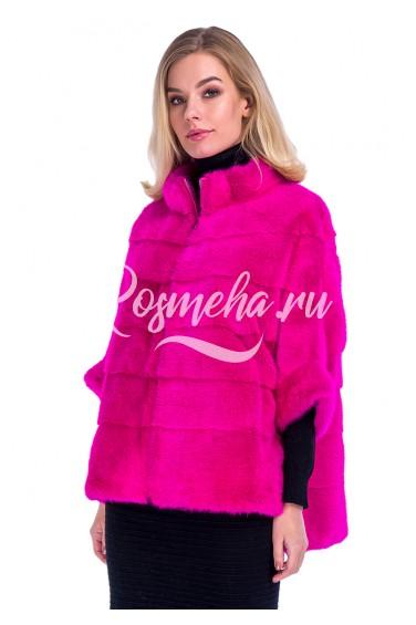 Розовый свитер из меха норки фуксия (51-6004)