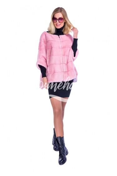 Нежно-розовый свитер из меха норки (52-6004)