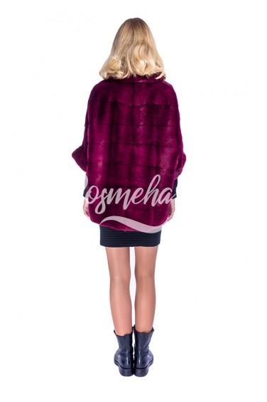 Бордовый свитер из меха норки (55-6004)