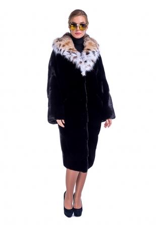 Блек норковая шуба мех NAFA с капюшоном из рыси (369-11013)